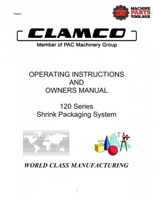 Clamco - 120 Series Shrink Packaging System - Manual and Parts Drawings